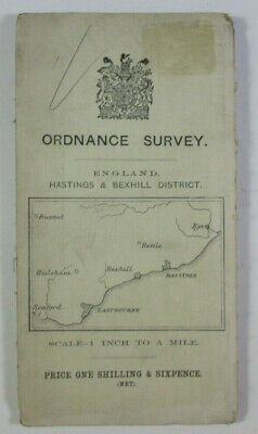 1912 Old OS Ordnance Survey One-Inch Third Edition Map Hasting Bexhill District