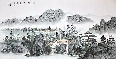 Chinese 20th c. horizontal Scroll Painting, Mountain Landscape, Artist Seals