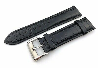 Black 22mm Genuine Leather Strap/Band fit EMPORIO ARMANI watches + Pins and Tool