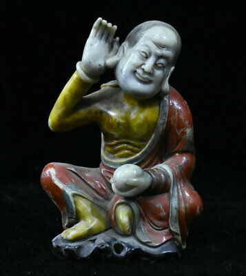 "6"" Chinese Natural Shoushan Stone Painted Carved Arhat lohan Buddha Sculpture"