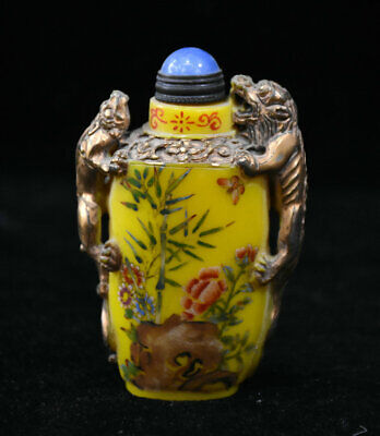 8CM Chinese Palace Colored Glaze Inner Painting Beast Flower Bird Snuff Bottle