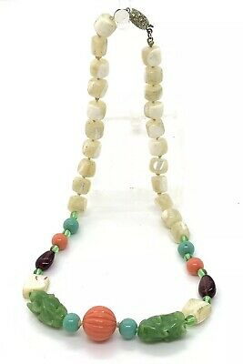 """VTG MOP MOTHER OF PEARL GLASS BEADED 16"""" 1950's Necklace"""