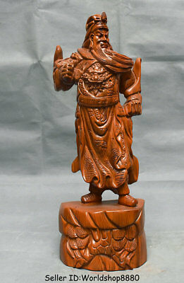 "18.8"" Old China Huanghuali Wood Carved Guan Gong Yu Warrior God Dragon Statue"
