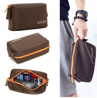 NWT Mens Brown Toiletry Travel Wash Shower Bag Organizer Kit Case S #139
