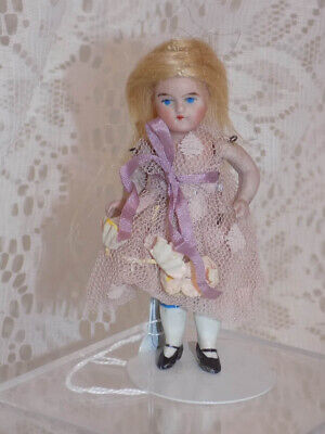 Antique German DollHouse Doll House Doll Girl Purple Dress All Bisque