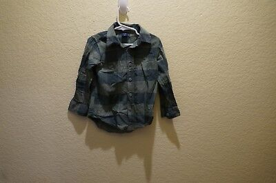 Toddler Boy's Camo Colored Plaid Long Sleeve Button Front Shirt By Gap Size 4T