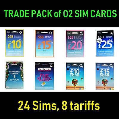 O2 SIMS, TRADE PACK of 24 sim cards, new and sealed, 8 tariffs. MAX 2 PER PERSON