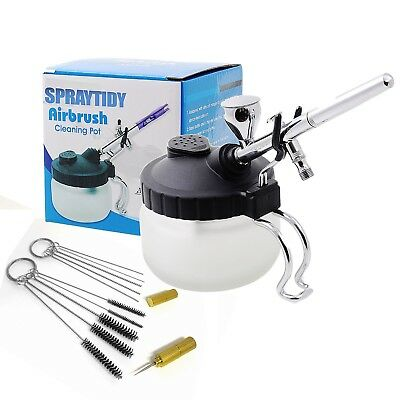 Airbrush Cleaning Station - Spraytidy Pro Glass Cleaner Pot + Holder & Brushes