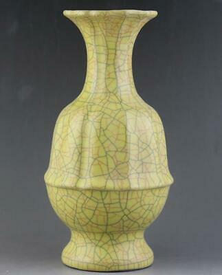 chinese old handmade ge kiln Yellow glaze porcelain vase 04225