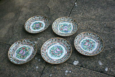 5 Pcs 20th C. Antique Chinese Porcelain Painted Famille Rose Butterfly Plate