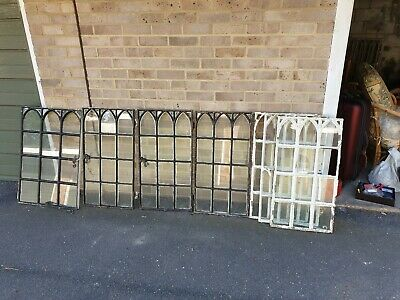 8 matching Antique 19th Century Victorian Gothic Cast Iron windows from chapel