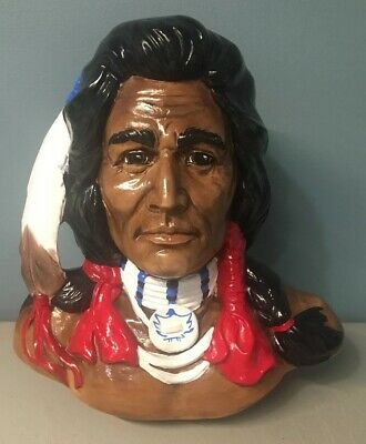 """VTG Native American Indian Chief Style Bust Hand Painted Ceramic 10.75"""" Tall"""