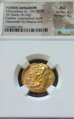 Pontic Kingdom, Mithradates Gold Stater NGC AU 4/3 Ancient Alexander Coin