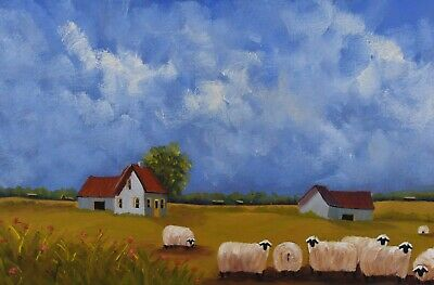 "Michel Des Marais Oil Painting Sheep Quebec Listed Artist 12 x 36"" Canadian"