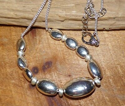 MONET Signed Vintage NECKLACE 1960's Silver Triple Plated Heavy Oval Beads
