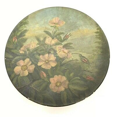 BEAUTIFUL OIL PAINTED 19th Century Antique Paper Mache Plate Chas Edmands Boston