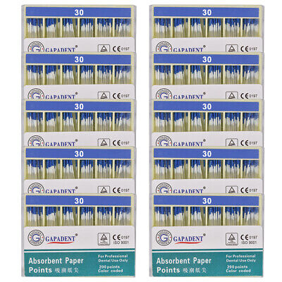 10Packs CE Absorbent Paper Points Root Canal Endo Cotton Fiber 0.02 30# Dental