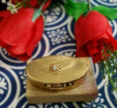 Vintage Max Factor Jewel Hi Society Gold Metal Compact Mirrored Lipstick Holder