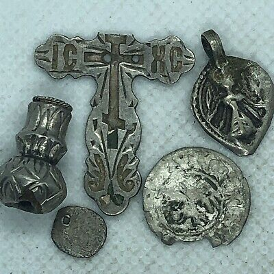 5 Medieval Silver Artifacts Authentic Coin Bead Pendant Cross Old European