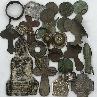 Medieval Byzantine & Post Middle Ages Artifacts Lot Cristian Cross Amulet Old