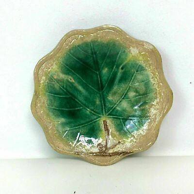 Antique 19th C Majolica Plate With Lettuce Cabbage Leaf Decoration