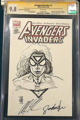 ALEX ROSS signed ORIGINAL ALEX MALEEV Sketch Art CGC 9.8 Avengers Spider-Woman