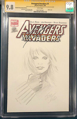 ALEX ROSS signed ORIGINAL GREG LAND Sketch Art CGC 9.8 BLACK WIDOW AVENGERS