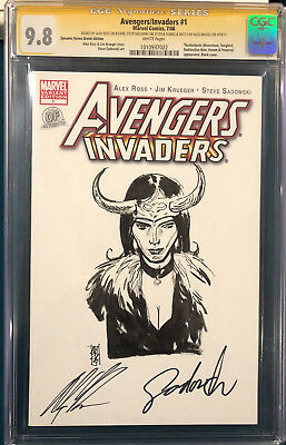 ALEX ROSS signed ORIGINAL ALEX MALEEV Sketch Art CGC 9.8 Avengers Loki Thor