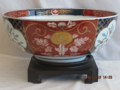 """Antique Japanese Large12"""" Imari Floral & Gold Gilt Hand Painted Punch Bowl&Stand"""