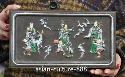old chinese huanghuali wood carved wealth longevity God statue Jewelry Box boxes