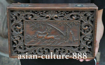 "12"" Old Chinese Huanghuali wood Hand carved Deer Statue Storage Boxs Jewelry Box"
