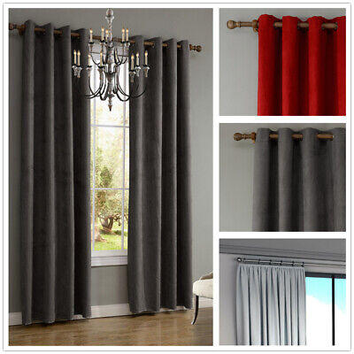THERMAL BLACKOUT CURTAINS Eyelet Ring Top OR Pencil Pleat FREE Tie backs New