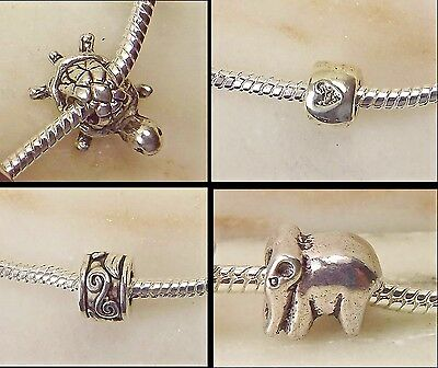 Set of 4 Tibetan Silver Charm Beads Turtle Heart Patterned & Elephant - European