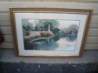 Col Yw: Large Vintage Garden Print In Gold Frame