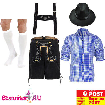 Mens German Lederhosen Costume Oktoberfest Beer Outfit Black Blue Hat Stockings