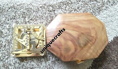 Shiny Brass square Sundial Compass With Wooden Box Decor Item.