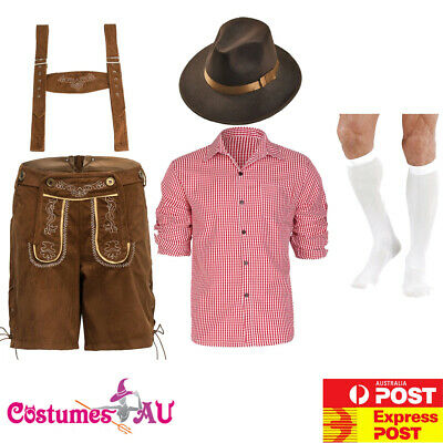 Mens German Lederhosen Costume Red Oktoberfest Beer Outfit Brown Hat Stockings