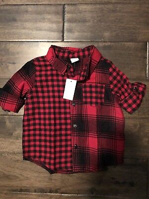 New Baby Boy Red Gingham Check Shirt Size 12-18