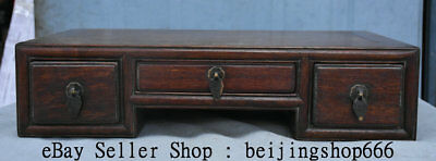 "16.8"" Antique Old Chinese Huanghuali Wood Dynasty 3 Drawer Table Desk Furniture"