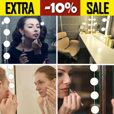 10-Bulb Makeup Mirror USB LED Mirror Lamp Light Hollywood Style Kit For Dressing