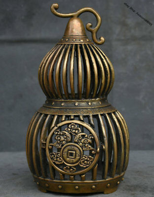 """9"""" Rare Marked Collect Old Chinese China Bronze Gourd Birdcage Bird Cage"""
