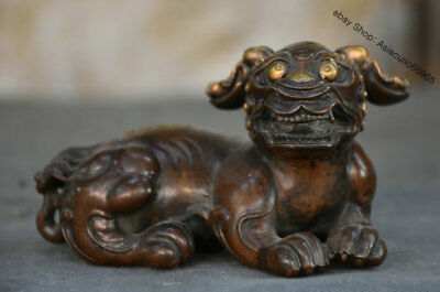 "5"" Old Chinese Purple Bronze Feng Shui Animal Beast Lion Kylin Statue Sculpture"