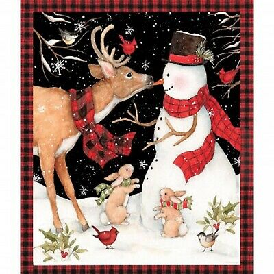 Christmas Snowman and Reindeer Cotton Quilting Fabric Panel