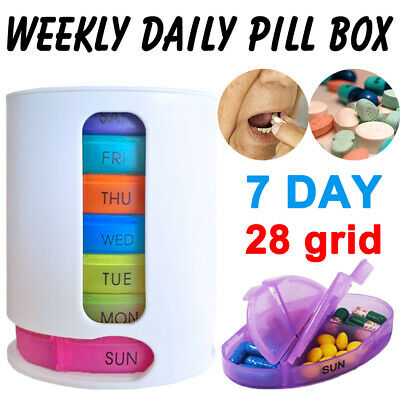 Weekly Daily Pill Box Organiser Medicine Tablet Storage Dispenser 7 Day Week New