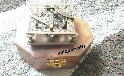 "3"" Antique Brass square Sundial Compass With Wooden Box Item."