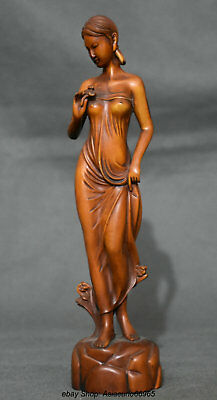 20CM Old Chinese Boxwood Wood Carving Sexy Beautiful Woman Belle figure Statue