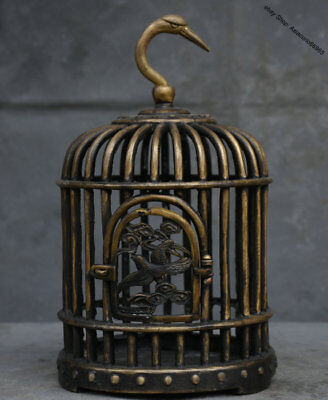 """14"""" Rare Marked Old Chinese Dynasty Bronze Bird Goose Head Hang Birdcage Cage"""