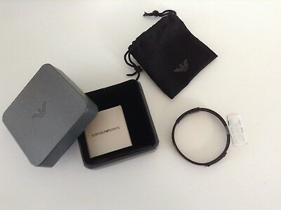 Brand New In Box - Emporio Armani unisex bangle - Brown Leather / Dark Fittings