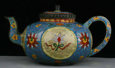 """10"""" Old Marked Chinese Copper Cloisonne Carved Flower Handle teapot teakettle"""