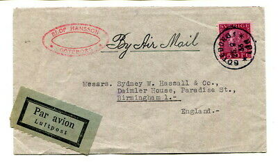 Sweden 1933 35ore commercial Air Mail cover Goteborg to Birmingham, UK